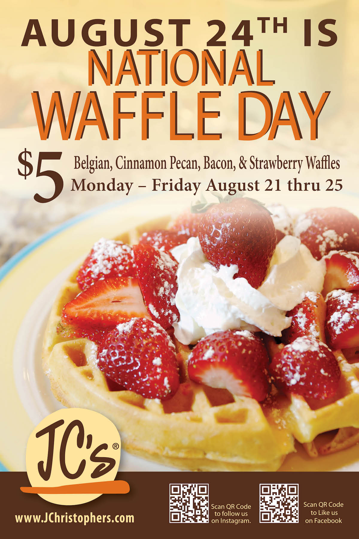 Celebrate National Waffle Day with J. Christopher's!