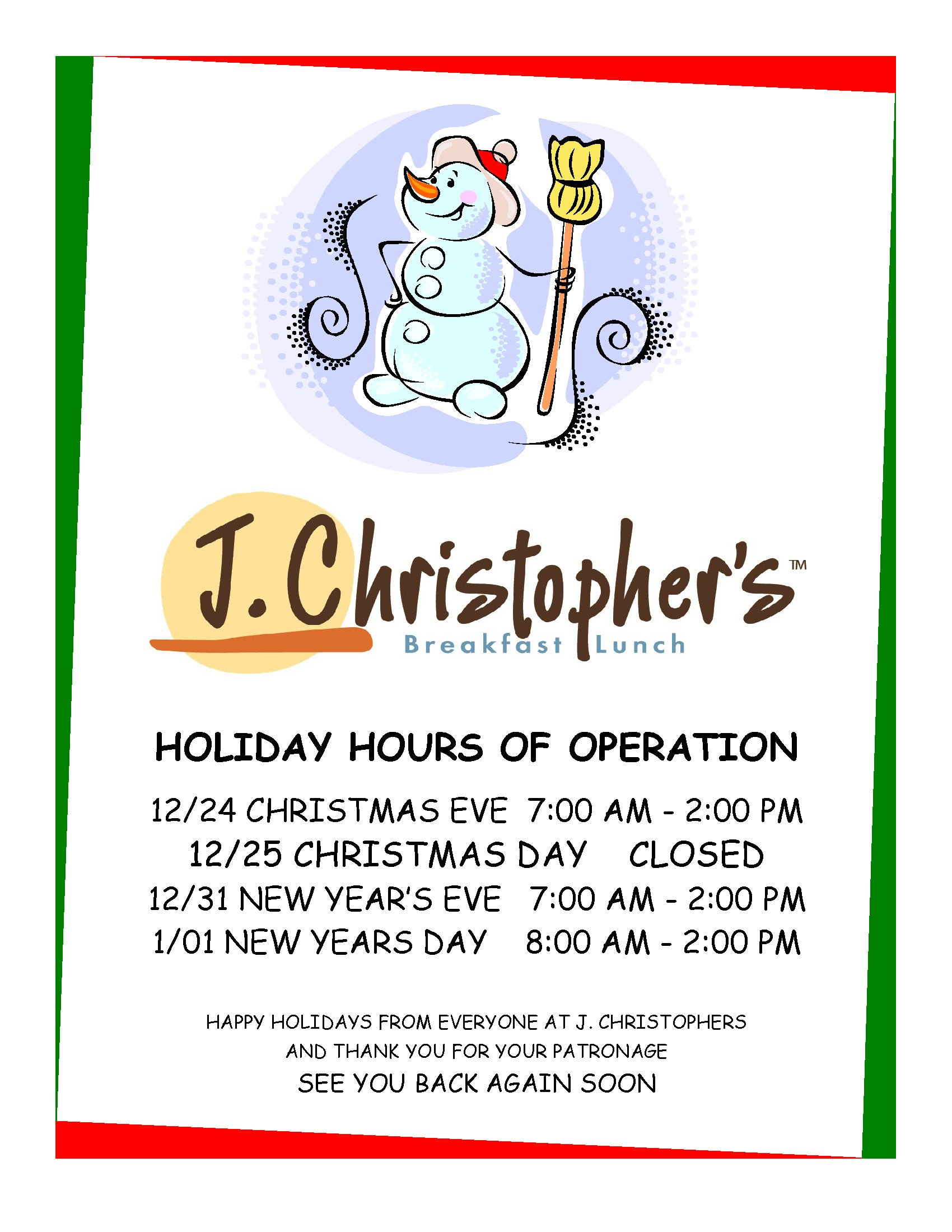 Holiday Hours of Operation (2017)